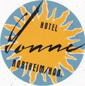 Switzerland Northeim Hotel Sonne Vintage Luggage Label sk4266
