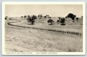 Camp Roberts California~Parading to Target Range~Snaking Line~WWII 1940s B&W PC