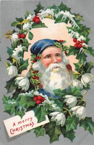 F61/ Santa Claus Merry Christmas Holiday Postcard c1910 Blue Suit Flowers 9