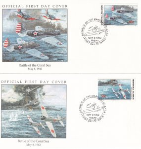 Battle Of The Coral Sea Marshall Islands Military 2x WW2 First Day Cover s