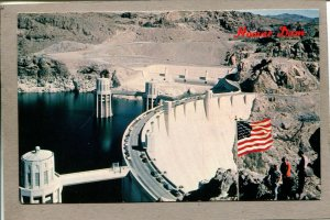 Postcard Nevada Hoover Dam Colorado River Aerial View U.S. Flag 2271H