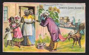 VICTORIAN TRADE CARD Domestic Sewing Co Black Salesman & Black Family