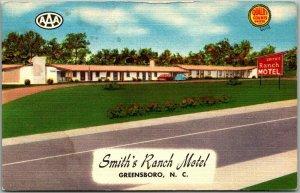 1950s Greensboro, North Carolina Postcard SMITH'S RANCH MOTEL Roadside Linen