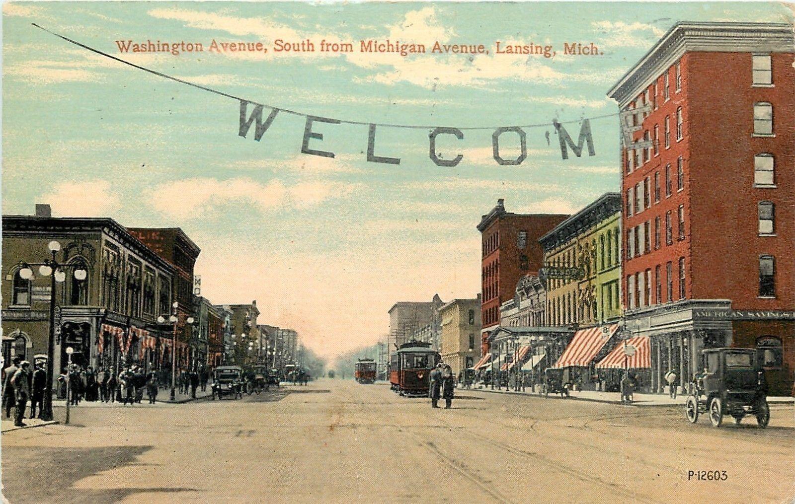 Lansing Mi Welcome Banner Trolleys American Savings Banks 1915 Postcard Hippostcard