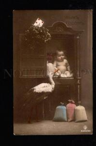 049871 Boy as Gift & STORK vintage PHOTO RUSSIAN PC