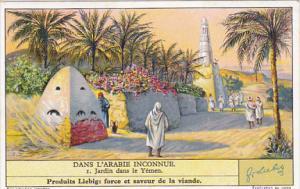 Liebig Trade Card s1307 Undiscovered Arabia No 1 Jardin dans le Yemen