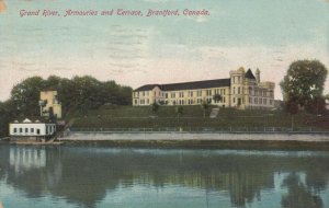 BRANTFORD , Ontario , PU-1910; Grand River, Armouries and Terrace