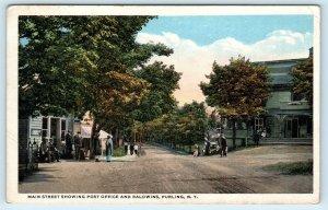 PURLING, New York NY ~ MAIN STREET Post Office & Baldwins ca 1920s Postcard