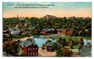 1917 View of Easton, Lafayette College from Phillipsburg, PA Postcard *4X
