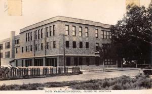 Glendive Montana Washington School Real Photo Antique Postcard J66135