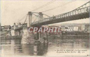 Postcard Old Ste Foy the large hanging bridge perspective port ste foy
