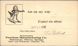Oakland CA Peerless Mfg Mattress Pillows Illusstrated Postal Card IMP Fantasy