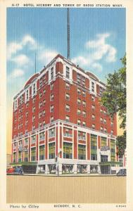 Hickory North Carolina~Hickory Hotel~Radio Station WHKY Tower Bknd~1940s Pc