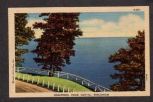 WI Greetings from CRIVITZ WISCONSIN Postcard Linen PC