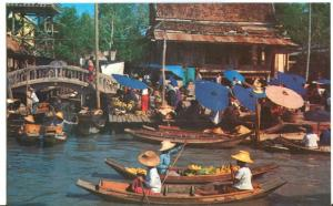 Thailand, Floating Market (Wat-Sai) near Bangkok, unused Postcard
