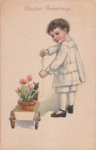 Easter Young Boy Pulling Wagon With Flowers