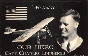 Capt. Charles Lindbergh We Did It Spirit of St Louis Message RPPC Postcard
