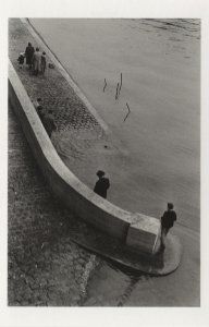 Lonely Man At The Seine River Paris France in 1959 Postcard