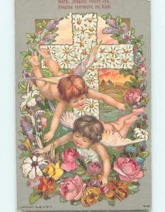 Pre-Linen religious ANGELS FLYING BY JESUS CHRIST MADE OF FLOWERS HL5305