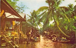 Dhornburi Thailand River Boat Scene Stamps 1964 Postcard