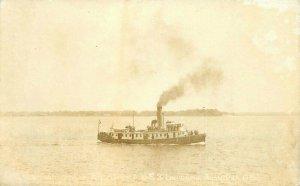 1915 Tug Boat USS Louisiana Navy Military RPPC Photo Postcard 20-1160