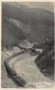 Canadian Pacific Train, Kicking Horse Canyon, Alberta, Canada, Early Real Photo