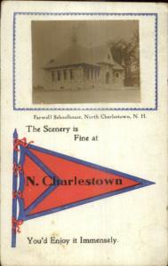 North Charlestown NH Farwell School Pennant & Real Photo Postcard c1910