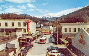 Ketchikan AK Business District Storefronts Old Cars Bus Postcard