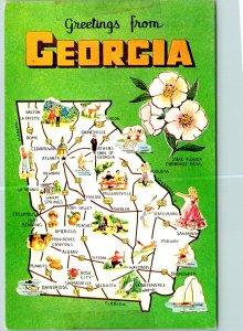 Georgia State Shape Atlanta Cherokee Rose Postcard unused (20393)