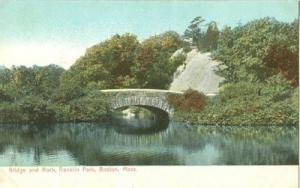 Bridge and Rock, Franklin Park, Boston, Mass early 1900s ...