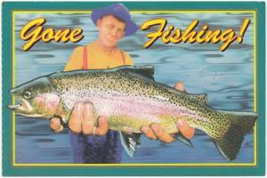 Gone Fishing !, unused Postcard