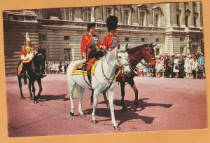 H.M. The Queen & HRH Prince Philip On Horses Great Britain Postcard Vtg
