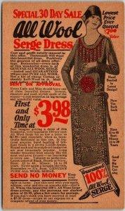 Vintage 1920s Chicago Mail Order Advertising Postcard All Wool Serge Dress $3.98