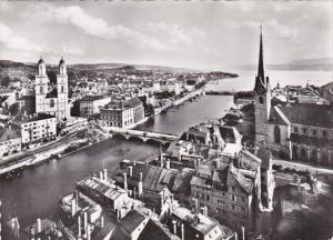 Switzerland Zurich Limm I und See mit Grossmuenster Photo