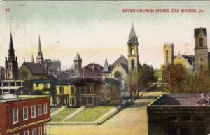 Seven Church Spires and surrounding area, Des Moines, Iowa, PU-1909