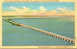 Florida Oversea Highway To Key West Looking Southwest From Lower Matecumbe Cu...