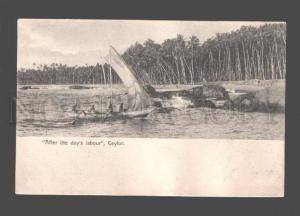 079070 Ceylon After day's labour native sailboat Vintage PC