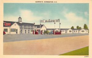 Summerton South Carolina~Godwin's Motel & Grill~Esso Gas Station~1940s Postcard