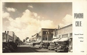 Pomona CA Street View Storefronts Drug Store Old Cars Real Photo Postcard