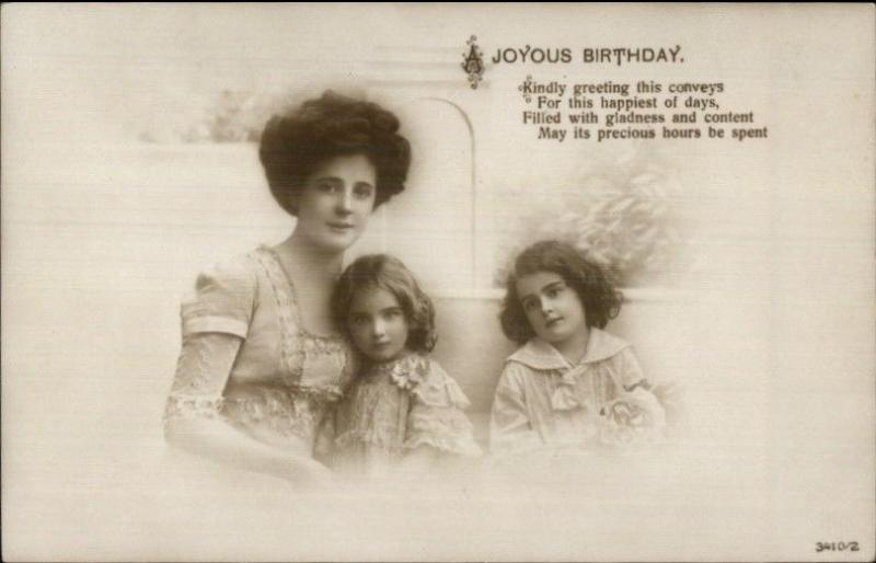 Mother & Her Beautiful Daughters JOYOUS BIRTHDAY c1910 Real Photo Postcard