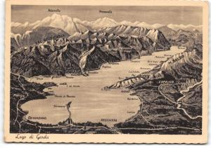Vintage Lake Garda Italy Postcard Map showing Towns and Mountains B86