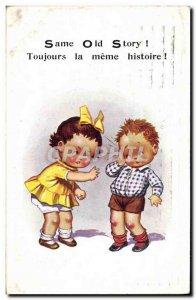 Old Postcard Fantasy Illustrator Child Always the same story