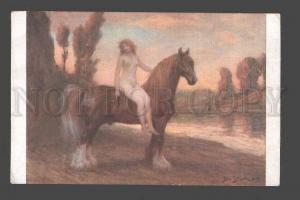 096503 NUDE Nymph on HORSE Long Mane by Jan STYKA vintage PC