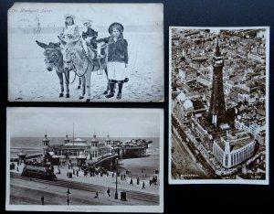 Lancashire 3 x BLACKPOOL Children & Donkey TOWER & PIER c1905 & 1920s Postcard