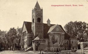 Traer Iowa~Congregational Church~Est 1900~Trees on Side~1911 B&W Postcard