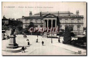 Old Postcard Limoges Courthouse and Statue Gay Lassac