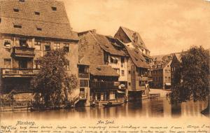 Germany Nurnberg Am Sand River Partial view Houses Postcard