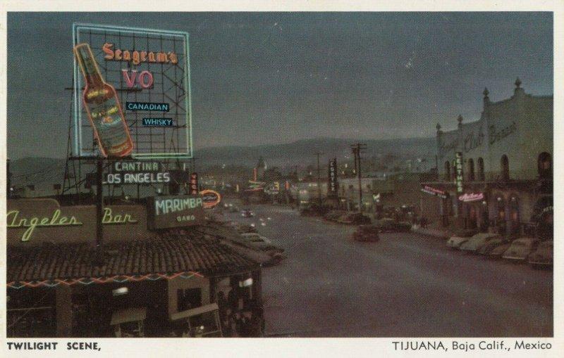 TIJUANA , Mexico, 1940-50s ; Main Street , Twilight