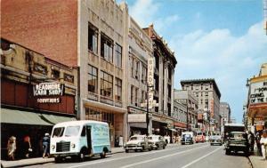 Louisville Kentucky~Fourth Street North~Theatre~Burdorf~Spaldings Van~1950s Cars