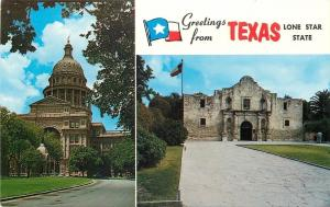 Texas Banner Greetings~State Capitol~The Alamo~1960s Postcard